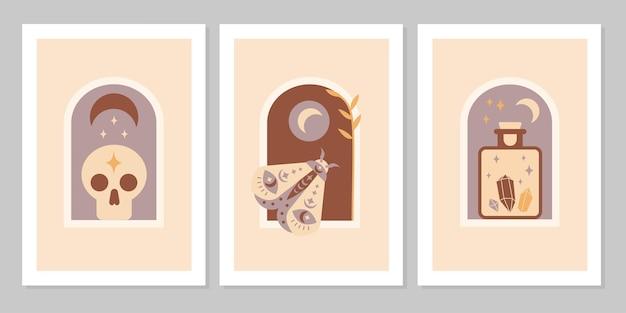 Ustaw plakat z magicznymi symbolami ezoterycznych tatuaży czarownic. kolekcja półksiężyca, czaszki, klejnotu, butelki, kryształów. płaskie mistyczne vintage ilustracji wektorowych. projekt plakatu, karty, ulotki