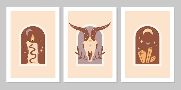 Ustaw plakat z magicznymi symbolami ezoterycznych tatuaży czarownic. kolekcja półksiężyca, świeca, klejnot, koza, kryształy. płaskie mistyczne vintage ilustracji wektorowych. projekt plakatu, karty, ulotki