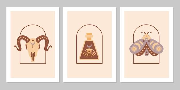 Ustaw plakat z magicznymi symbolami ezoterycznych tatuaży czarownic. kolekcja szklanej butelki, ćmy, kozy na łuku. płaskie mistyczne vintage ilustracji wektorowych. projekt plakatu, karty, ulotki