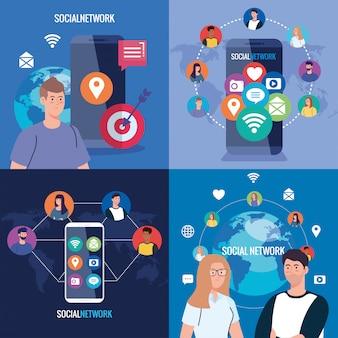 Ustaw plakaty sieci społecznościowej, ludzi połączonych cyfrowo, interaktywnych, komunikacyjnych i globalnej koncepcji