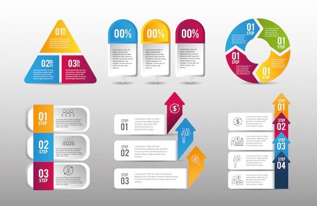 Ustaw plan strategiczny danych biznesowych infografiki