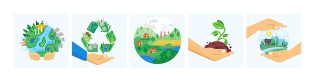 Ustaw planetę w ludzkich rękach ochrona globalnej ekologii. koncepcja dzień ziemi recyklingu zasobów paliwa alternatywnego wytwarzania energii i energii. ochrona środowiska eko miasto natura zapisz wektor kreskówka
