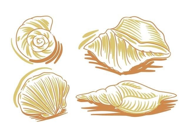 Ustaw płaską ilustrację owoców morza dla elementu marki i logo