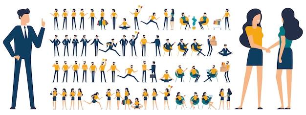 Ustaw płaską konstrukcję mężczyzna kobieta animacja postaci pozuje mówienie zakupy rozmowy telefon ręka skrzyżowany palec w górę potrząśnij ręką zwycięzca umiejscowienie medytacja relaks itp