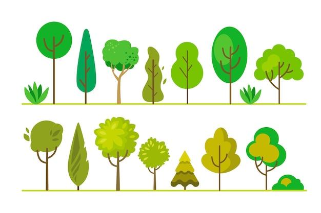 Ustaw płaskie drzewa. proste zielone rośliny, las.