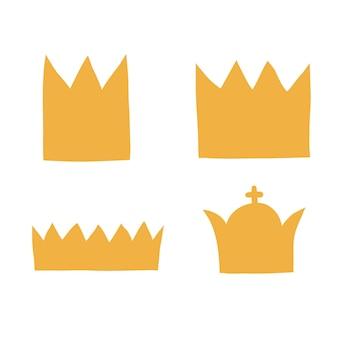 Ustaw płaskie korony o różnych kształtach i rozmiarach. ilustracji wektorowych na białym z czarną linią.