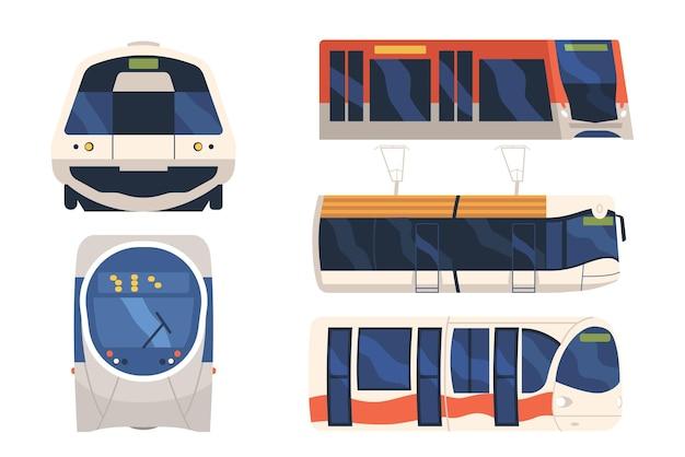 Ustaw pociąg, tramwaj i metro z przodu i z boku na białym tle transport. pociąg miejski ekspresowy, lokomotywa metra, nowoczesny projekt miejskiego pojazdu kolejowego podmiejskiego. ilustracja kreskówka wektor