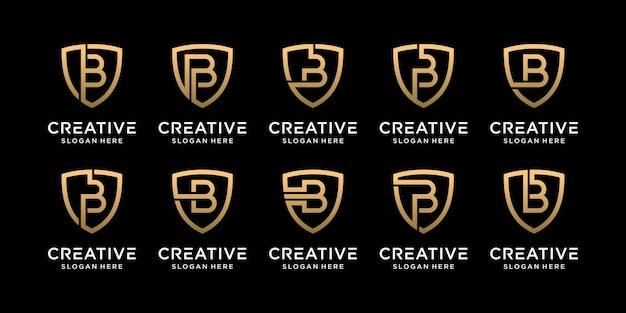 Ustaw początkową literę b projektu logo tarczy monogram pakietu w stylu liniowym premium wektorów