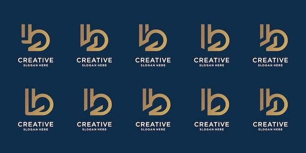 Ustaw początkowy szablon projektu logo b kolekcji. wektor premium