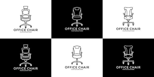 Ustaw pomysł na krzesło biurowe linii sztuki szablon projektu logo