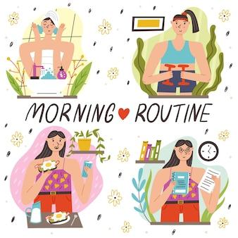 Ustaw poranną rutynę mycie ćwiczenie planowanie śniadania. etapy porannej rutyny dziewczyny. nowoczesna ilustracja wektorowa płaska