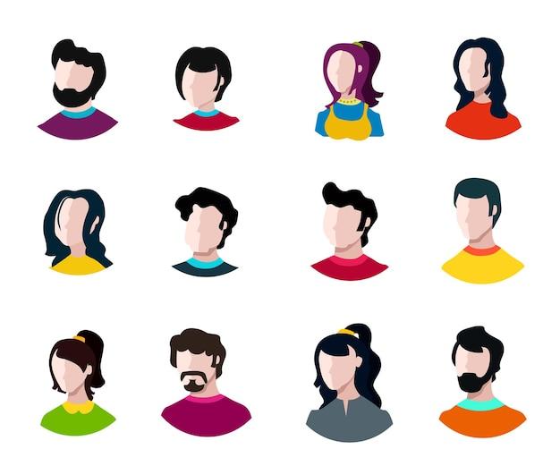Ustaw portret innej osoby ilustracji zespołu duży różnorodny biznes
