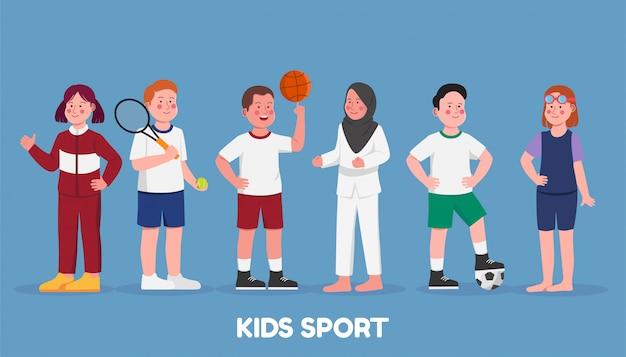 Ustaw postać dzieci sportowe hobby w szkole