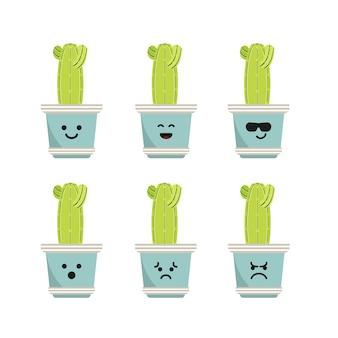 Ustaw postać kaktusa saguaro ilustracja
