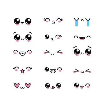 Ustaw postać twarzy kawaii z wyrażeń projektowych