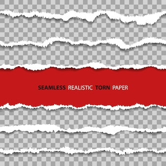 Ustaw poziome realistyczne bezszwowe uszkodzone obramowanie, dziury w arkuszu papieru z podartymi krawędziami tekstury na przezroczystym tle.