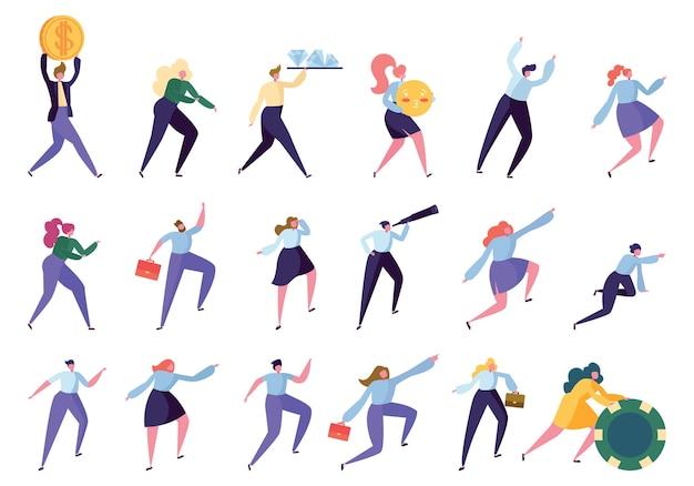 Ustaw pracownika biurowego osiągnąć cel na białym tle kolekcji. zespół pracowników wykonujących różne gesty dąży do osiągnięcia sukcesu. biznes pracownik kierownik kierownik płaski kreskówka wektor ilustracja