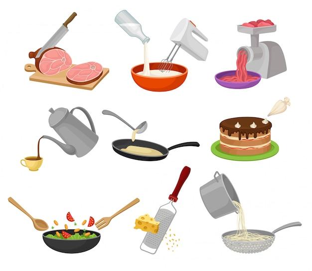 Ustaw proces gotowania. ilustracja na białym tle.