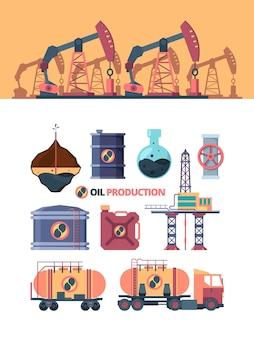 Ustaw produkty naftowe. wiercenie studni, kołysanie pompą prętową, otwieranie zaworu na rurze, transport ciężarówką, kompozycja ekstrakcyjna, pompowanie do kanistra, cysterny i magazynowanie.