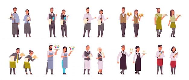 Ustaw profesjonalne pary kelnerów w różnych pozach