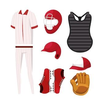 Ustaw profesjonalny mundur i sprzęt baseballowy