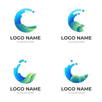 Ustaw projekt logo fali w zielonym i niebieskim stylu 3d