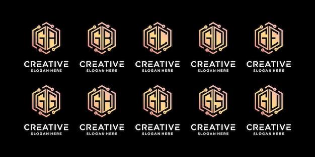 Ustaw projekt logo monogramu pakietu początkową literę g w połączeniu z innymi wektorami premium