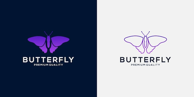 Ustaw projekt logo motyla z luksusowym kolorem gradientu