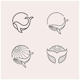 Ustaw projekt logo wieloryba monoline