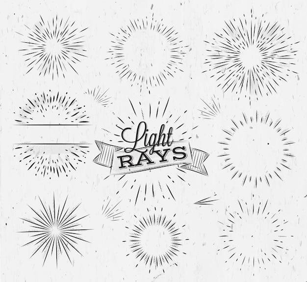 Ustaw promień światła w stylu vintage stylizowany rysunek węglem