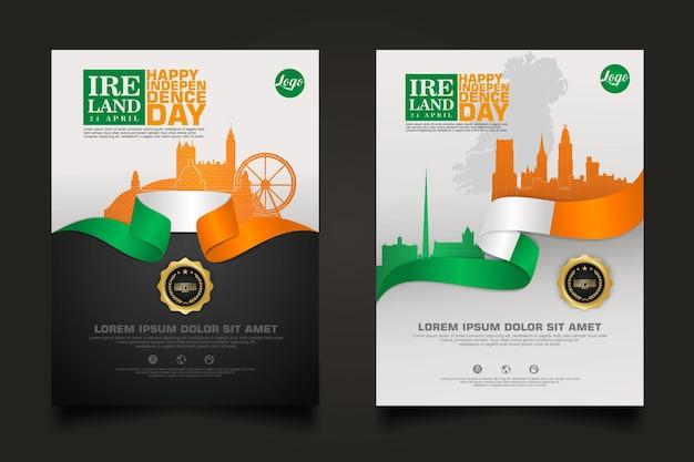 Ustaw promocje plakatowe irlandia szczęśliwy szablon dzień niepodległości.