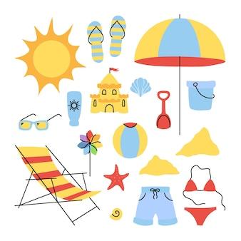Ustaw proste elementy na motywie plaży. streszczenie mieszkanie. pojedynczo na białym tle