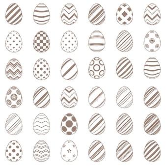 Ustaw proste jajko płaskie ikona