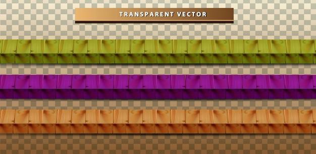 Ustaw przezroczystą kolekcję kolorowych tekstur drewna