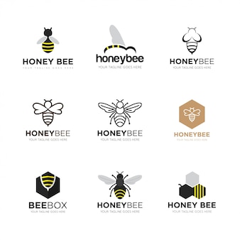 Ustaw pszczół logo ilustracji wektorowych