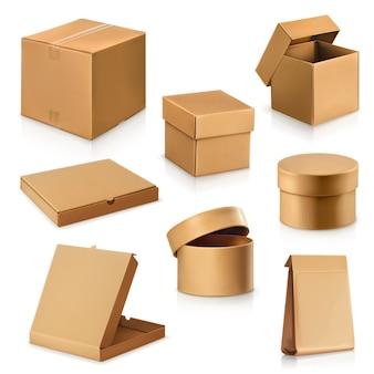 Ustaw pudełka kartonowe