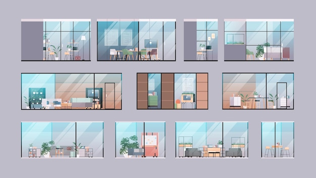 Ustaw puste centrum coworkingowe nowoczesne wnętrze pokoju biurowego otwarta przestrzeń z meblami za szklanym oknem poziomej ilustracji