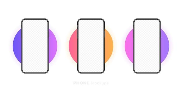 Ustaw pusty ekran smartfonów, telefon. szablon do infografiki, prezentacji lub aplikacji mobilnej. interfejs ui. nowoczesna ilustracja.
