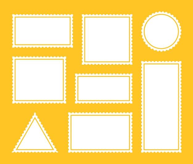 Ustaw pusty znaczek pocztowy. szablon naklejki pocztowej ząbkowanej granicy pocztowej. projekt graficzny wektor