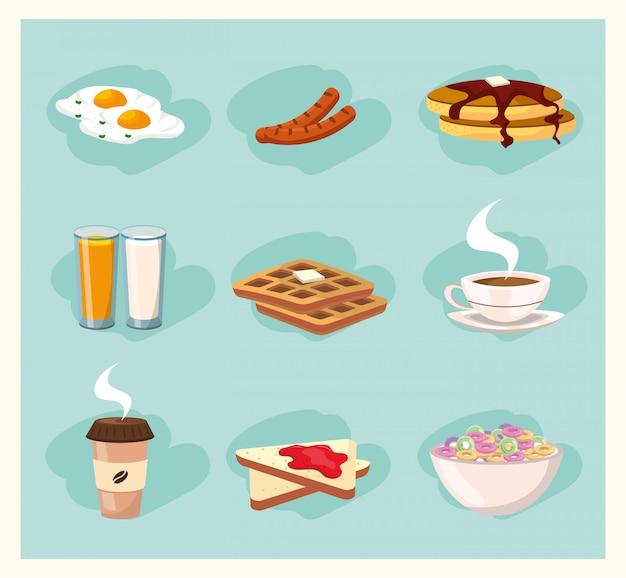 Ustaw pyszne jedzenie odżywiania śniadanie