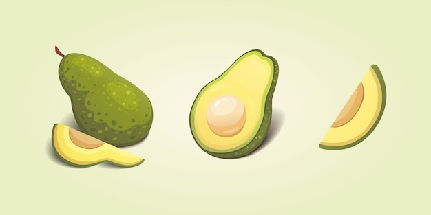 Ustaw realistyczne świeże owoce awokado. plastry i całe awokado. ilustracja jedzenie wegańskie.