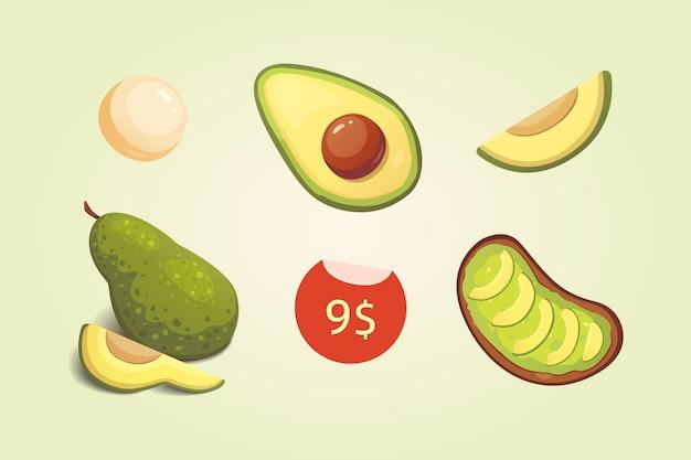 Ustaw realistyczne świeże owoce awokado. plastry i całe awokado. wegańskie jedzenie w stylu cartoon.