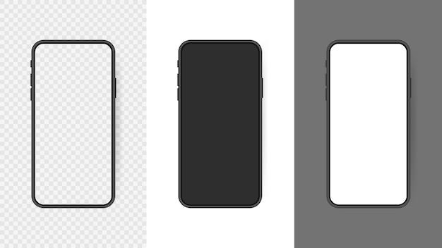 Ustaw realistyczny pusty ekran smartfona, telefon na przezroczystym tle. szablon interfejsu użytkownika infografiki lub prezentacji.