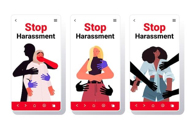 Ustaw ręce dotykające mieszanki rasy kobiety przestają nękać i nadużywać bez kolekcji ekranów smartfonów koncepcji przemocy seksualnej