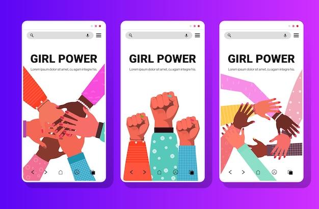 Ustaw ręce mieszanej rasy grupa kobiet łącząca ruch wzmacniający kobietę dziewczyna moc związek feministek koncepcja ekrany smartfonów kolekcja kopia przestrzeń ilustracja wektorowa