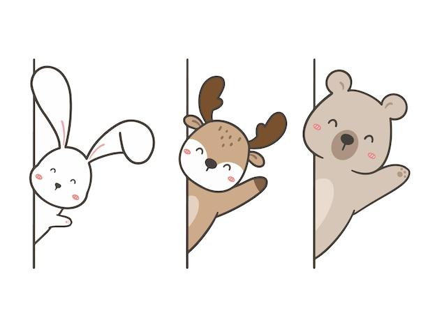 Ustaw ręcznie rysować słodkie zwierzę