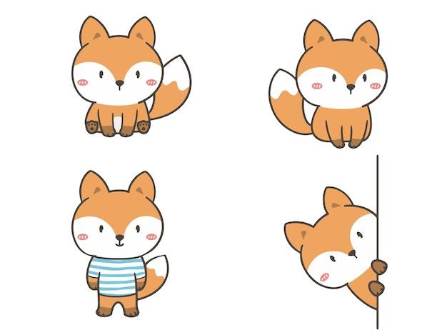 Ustaw ręcznie rysować uroczego lisa