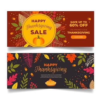 Ustaw ręcznie rysowane banery dziękczynienia