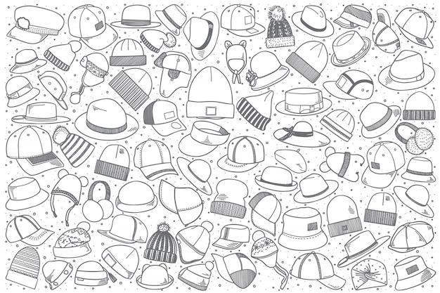 Ustaw ręcznie rysowane czapki