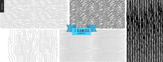 Ustaw ręcznie rysowane czarny, biały wzór tkaniny